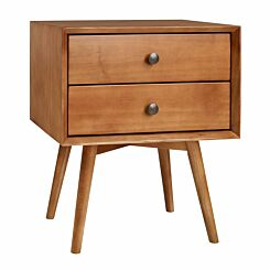 Lugo Mid Century Solid Wood Nightstand with 2 Drawers