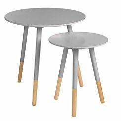 Premier Housewares Viborg Round Side Tables Set of 2 Grey