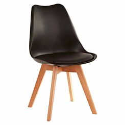 Premier Housewares Stockholm Chair with Faux Leather Cushion Black
