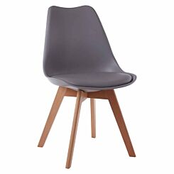Premier Housewares Stockholm Chair with Faux Leather Cushion Grey