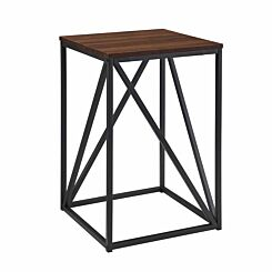 New York Modern Geometric Square Side Table Walnut
