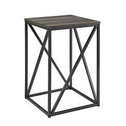 New York Modern Geometric Square Side Table Slate