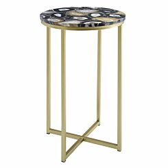 Melissa Faux Stone Round Side Table Black