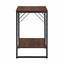 Austin Metal Accent Square Side Table Walnut