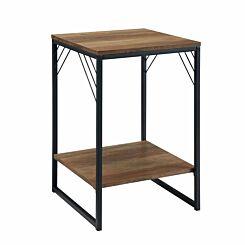 Austin Metal Accent Square Side Table Oak