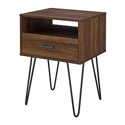 Mesa Single Drawer Side Table with Hairpin Legs Walnut