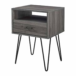 Mesa Single Drawer Side Table with Hairpin Legs Slate