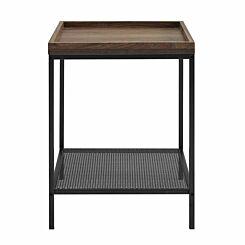 Kansas Square Tray Side Table with Mesh Shelf Walnut