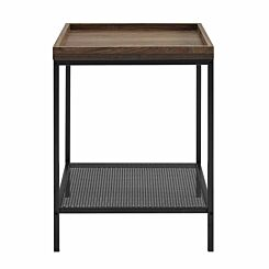 Kansas Square Tray Side Table with Mesh Shelf