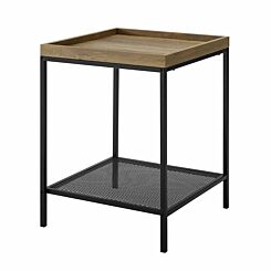 Kansas Square Tray Side Table with Mesh Shelf Oak