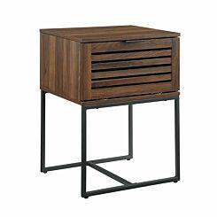 Raleigh Modern Slat Door Side Table Walnut