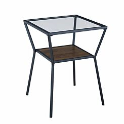 Miami Mixed Material Side Table Walnut