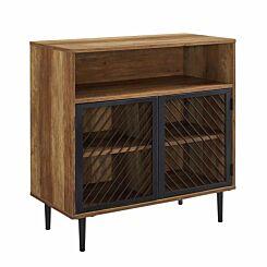 Luanda Modern Metal Door Accent Cabinet Rustic Oak
