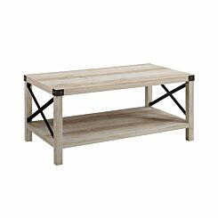 Tunis Rustic Wood Coffee Table White