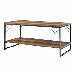 Victoria Industrial Metal Accent Coffee Table Rustic Oak