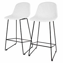 Gabriel Moulded Bar Stool Pack of 2 White