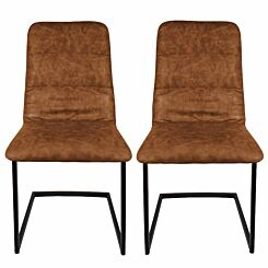 Antoine Cantilever Leather Effect Chair Set of 2