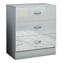 Chilton Deep 3 Drawer Chest with High Gloss Drawer Fronts Grey