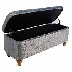 Kinetic Crushed Velvet Deep Ottoman Storage Box