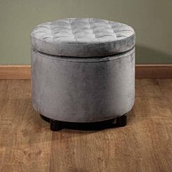 Kinetic Velvet Round Storage Stool Grey