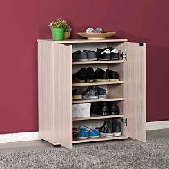 Dynamique Shoe Storage Cabinet with Adjustable Shelves Light Oak