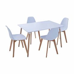 Interiors by PH 5 Piece Contemporary Dining Set White