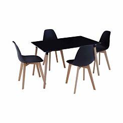 Interiors by PH 5 Piece Contemporary Dining Set Black