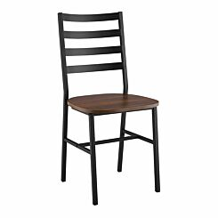 Sif Slat Back Metal and Wood Dining Chair Pack of 2