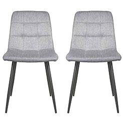 Moulin Fabric Dining Chair with Grey Steel Legs Set of 2