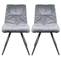 Mairie Velvet Effect Dining Chair with Grey Steel Legs Set of 2