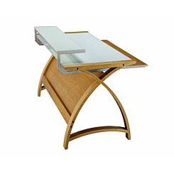 Jual Helsinki Large Curve Glass Laptop Desk with Keyboard Tray Oak