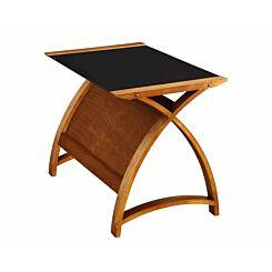 Jual Helsinki Curve Glass Laptop Table Walnut