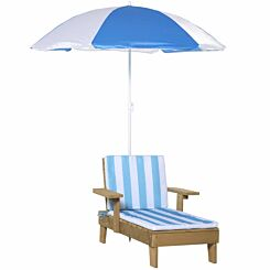 Zesty Kids Striped Wooden Lounge Chair and Parasol Blue