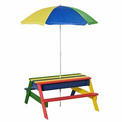 Zesty Kids Rainbow Picnic Table and Parasol Set with Sandbox