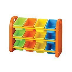 Childrens Plastic Storage 12 Bin Organiser