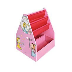 Childrens Princess Wooden Book Display with Blackboard and Storage