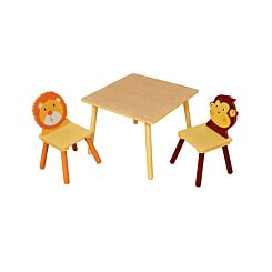 Childrens Jungle Wooden Square Table and 2 Chairs Set