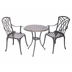 Charles Bentley Cast Aluminium Bistro Table and 2 Armchairs Set with Cushions