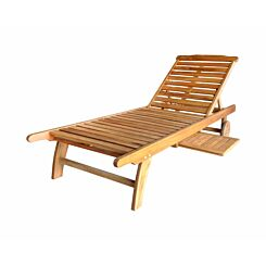 Charles Bentley Acacia Wooden Sun Lounger with Pull out Tray