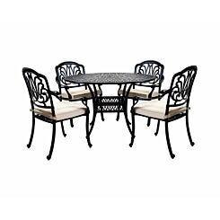 Charles Bentley Cast Iron Garden Dining Set 4 Seater