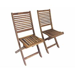 Charles Bentley FSC Acacia Outdoor Folding Dining Chairs Set of 2