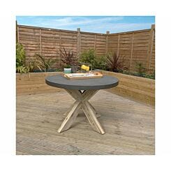 Charles Bentley Concrete Wood Round Garden Dining Table