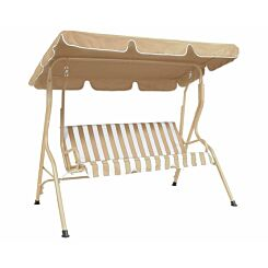 Charles Bentley Striped Garden Swing Seat Beige