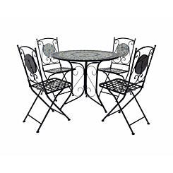 Charles Bentley Blue Mosaic 5 Piece Garden Table and Chairs Set