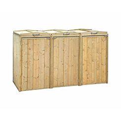 Charles Bentley Premium Wooden Triple Bin Store