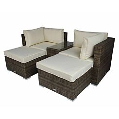 Charles Bentley 5 in 1 Multifunctional Rattan Garden Lounge Set