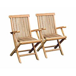 Charles Bentley Pair of Solid Wooden Teak Folding Arm Chairs