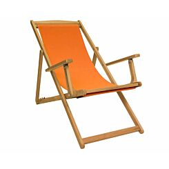 Charles Bentley Wooden FSC Eucalyptus Folding Deck Chair with Arms