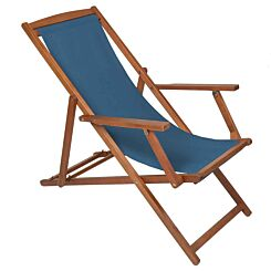 Charles Bentley Wooden FSC Eucalyptus Folding Deck Chair with Arms Teal