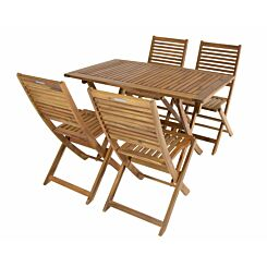 Charles Bentley Wooden FSC Acacia 4 Seater Rectangular Table Dining Set